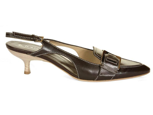 Tod's Brown Sling Back Heels