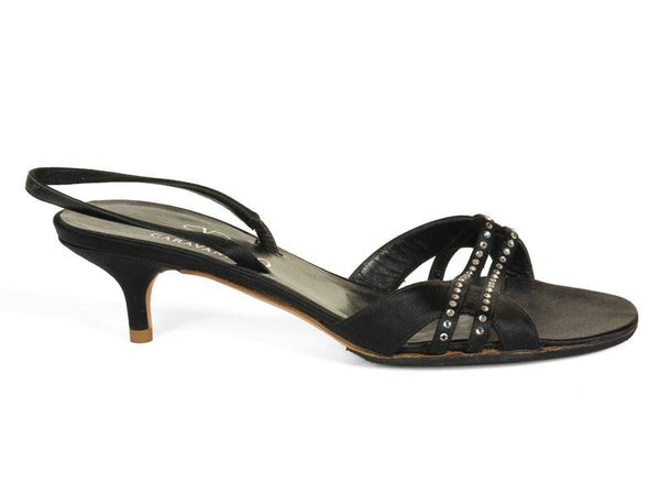 Valentino Black Satin Slingbacks