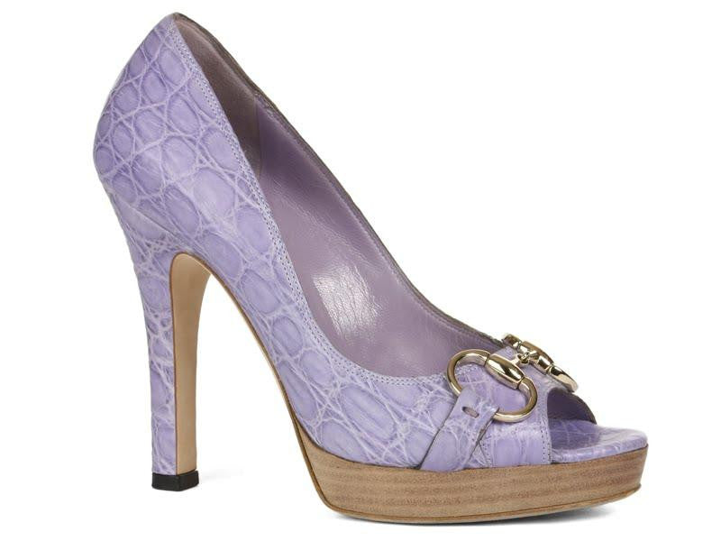 Gucci Purple Alligator Peep Toes