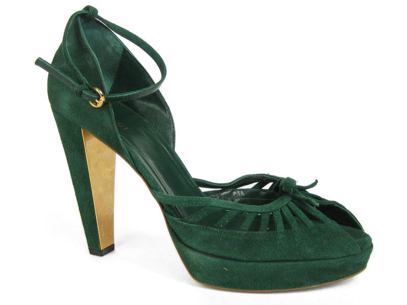 Gucci Green Suede Cutout Pumps