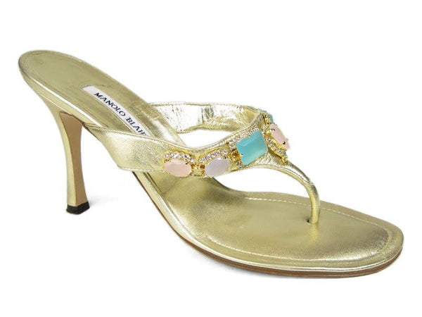 Manolo Blahnik Gold Jeweled Sandals
