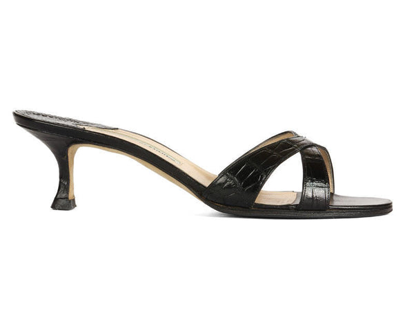 Manolo Blahnik Black Crocodile Slides