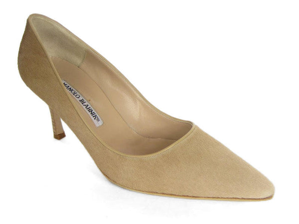 Manolo Blahnik Beige Pony Hair Pumps