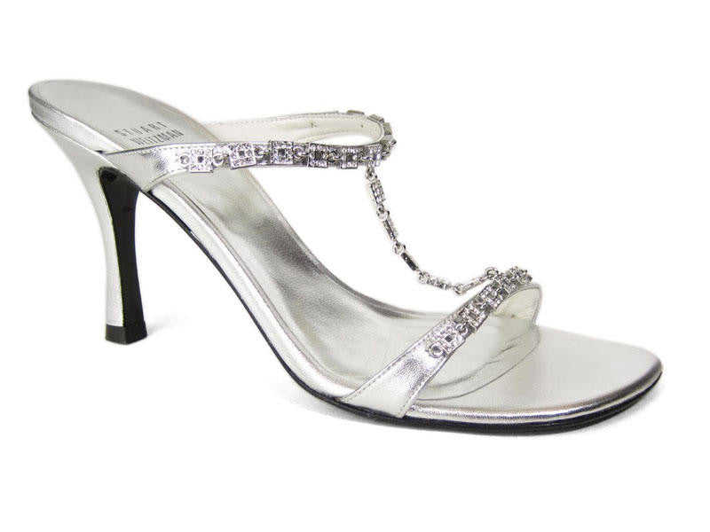 Stuart Weitzman Silver Tee-Up Crystal Sandals