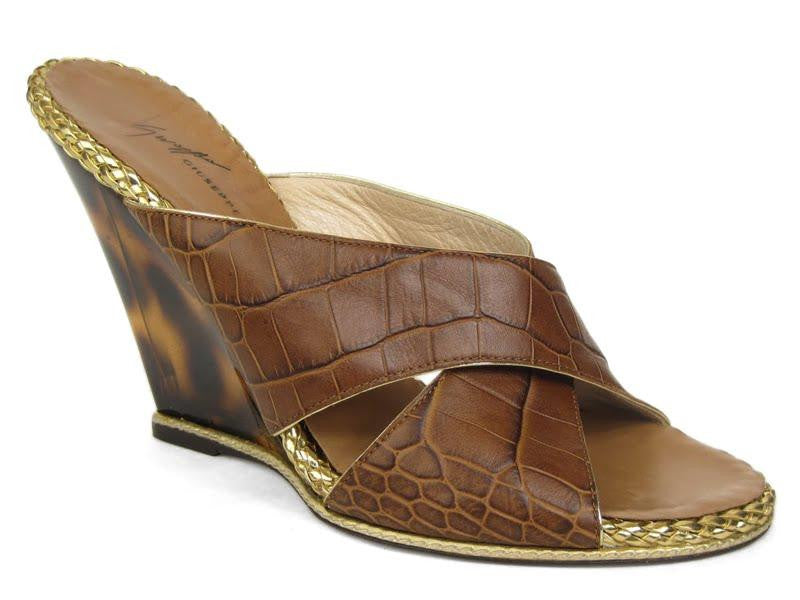 Giuseppi Zanotti Brown Embossed Wedges