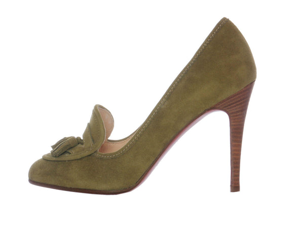Christian Louboutin Olive Green Suede Pumps