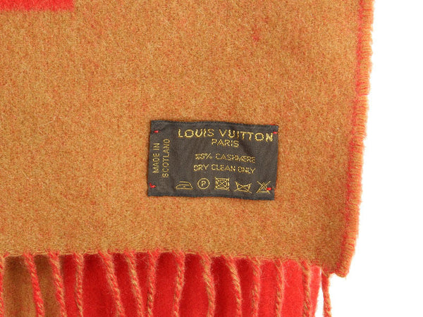Louis Vuitton Red and Tan Cashmere Scarf