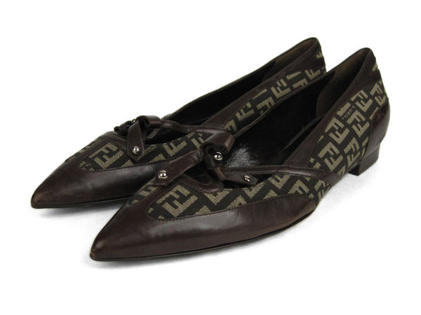 Fendi Brown Logo Flats