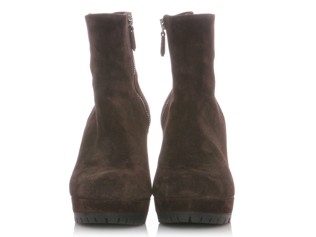 Prada Brown Suede Wedge Short Boots