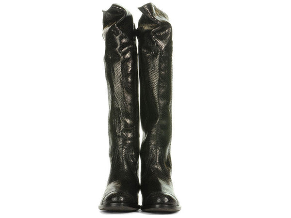 Henry Beguelin Tall Black Embossed Leather Boots
