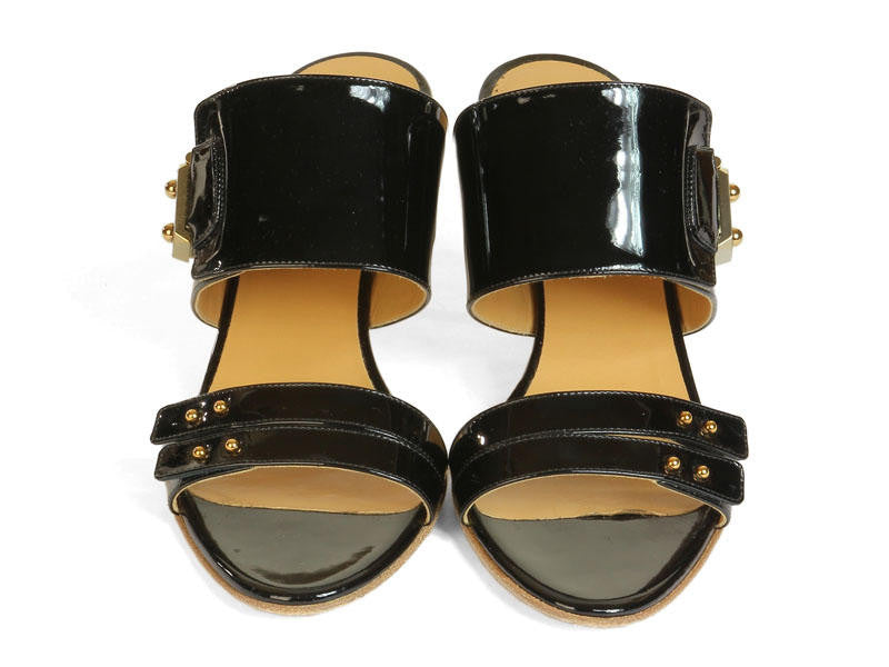 Hermès Black Patent Sandals