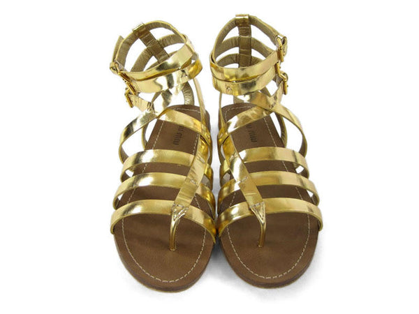 Miu Miu Gold Metallic Gladiator Shoes