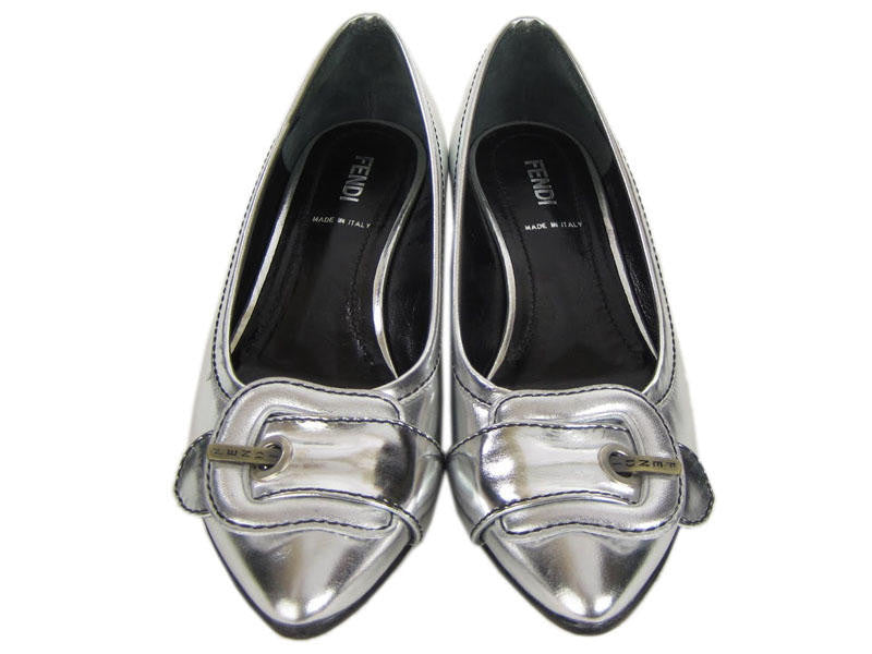 Fendi Silver Leather Flats
