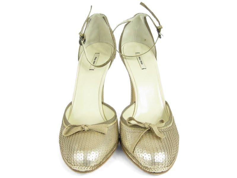 Miu Miu Gold Sequin Pumps