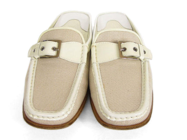 Tod's Cream Canvas Slides