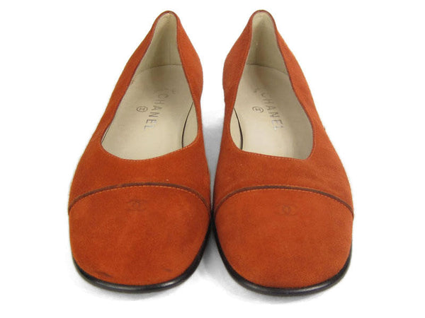 Chanel Rust Suede Flats