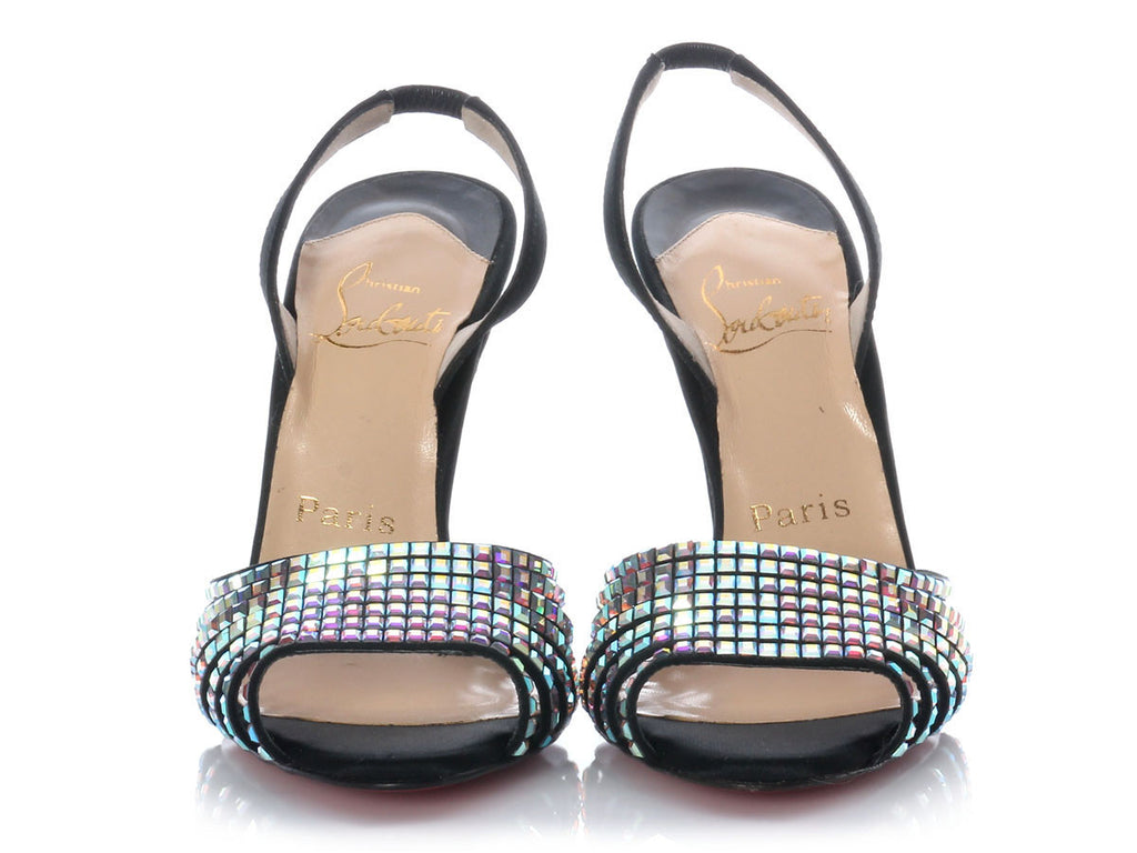 Christian Louboutin Mirrored Rhinestone Sling Backs