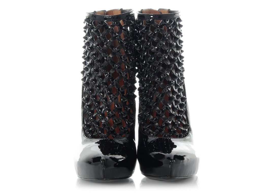 Givenchy Black Patent Latticework Booties