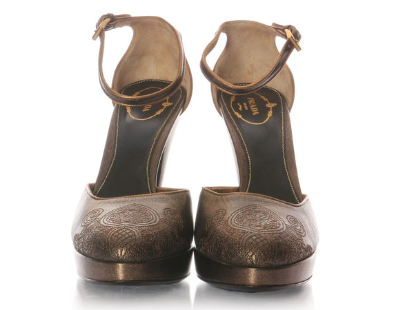Prada Bronze Embroidered Platform Pumps
