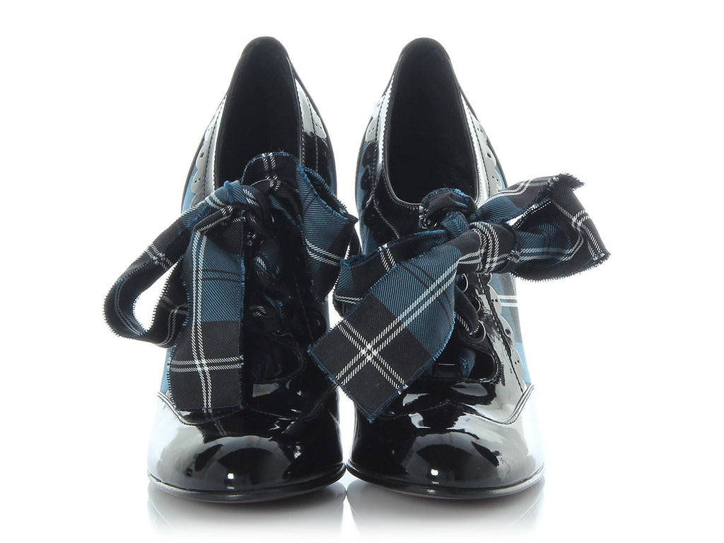 Louis Vuitton Blue Tartan and Patent Leather Booties
