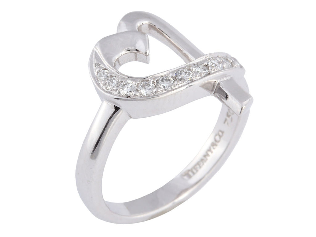Tiffany & Co White Gold and Diamond Open Heart Ring