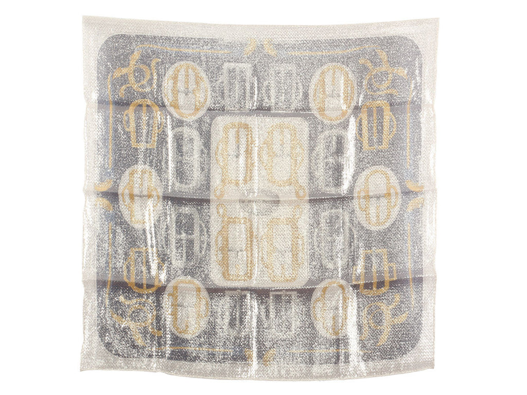 Hermès Silver Sheen Bouclerie d'Attelages Scarf