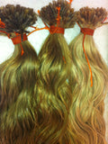 Virgin organic remi cuticle loose curl I tipped hair extensions custom colored