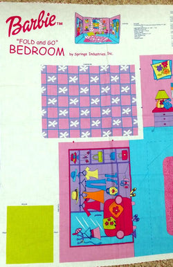 "Barbie Fold N Go Bedroom Add-A-Room Collection Fabric Panel Cut 'n Sew Springs Industries Make-A-Room 45"" wide $11.99 a yard with free shipping"