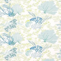 Thibaut Molokini Aqua/Green Sateen Twill Cotton Printed Drapery and Upholstery Fabric 54 inches wide 75 cents  a yard.