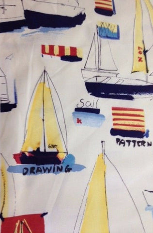 Mystic McGregor Sail Boat Print 100% Cotton Drapery and Printed Upholstery Fabric 54 inches wide $1.69  a yard.To view available inventory click on the drop-down box below