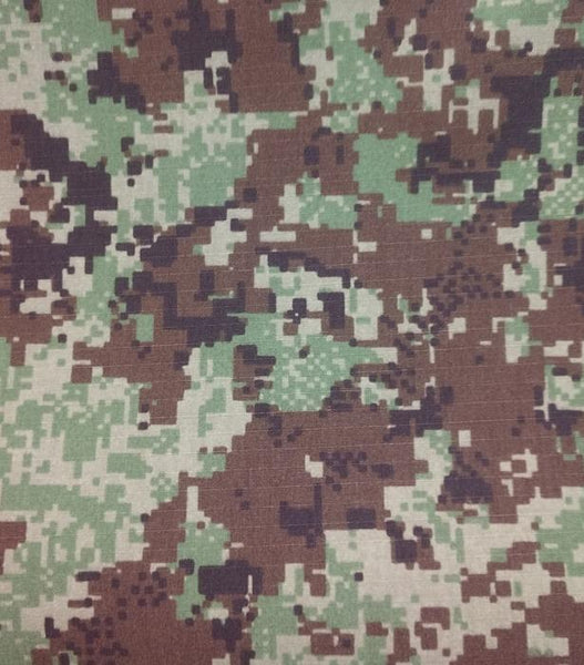"Hyperstealth Spec 4CE  Forest Green Camouflage Nylon 50% Cotton 50% Sateen Twill Fabric DWR 66"" $1.50 a yard"