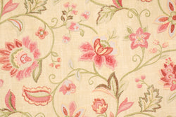 Richloom Illusions Chain Stitch Tea Rose Printed Drapery and Upholstery Fabric 100% Cotton 75 cents a yard.