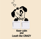 "Car / Nursery / Kids' Room Wall Decal - Adorable Puppy ""Keep Calm And Laugh Like Crazy"""