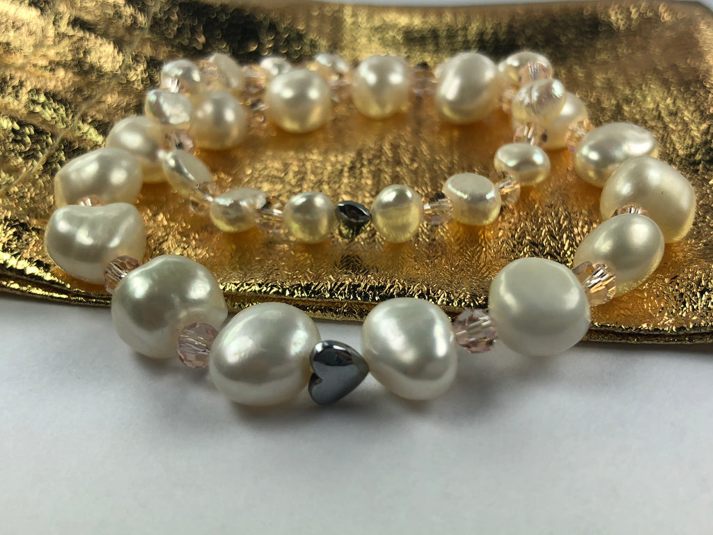 "All Natural Beautiful Freshwater Cultured Pearl Stretch Bracelet Set ""Mother and Daughter"""
