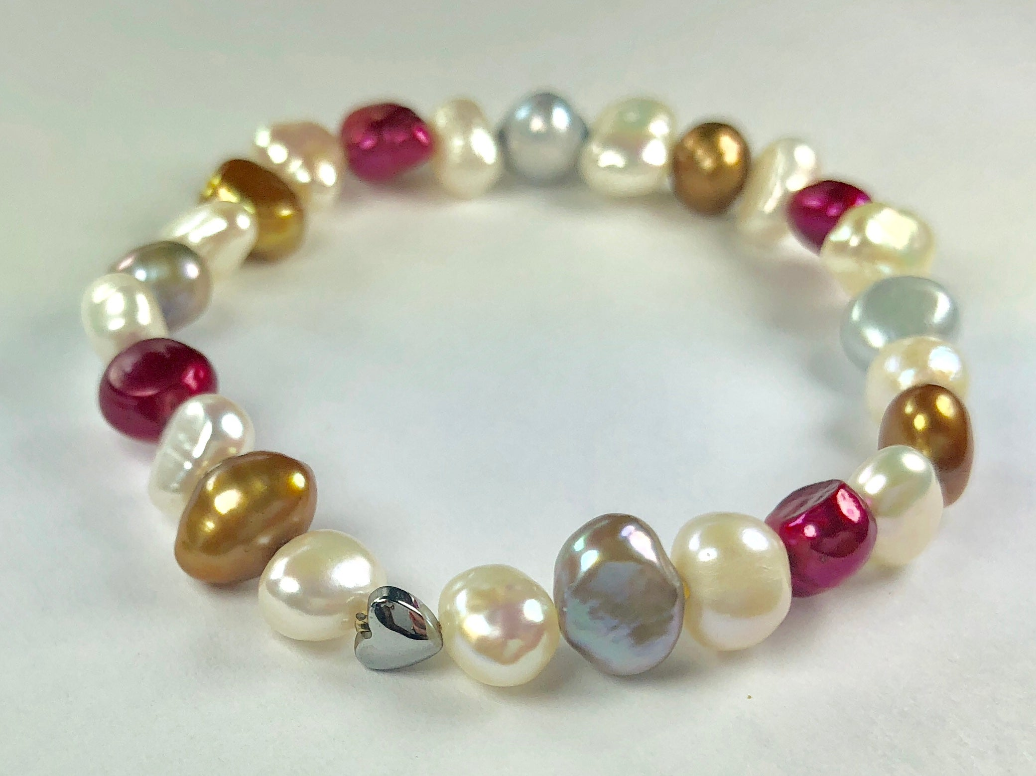 All Natural Beautiful Freshwater Cultured Pearl Stretch Bracelet for Girls