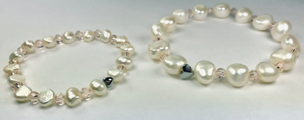"All Natural Beautiful Freshwater Cultured Pearl Stretch Bracelet Set ""Mother and Daughter""-Accessories-KneeBees"