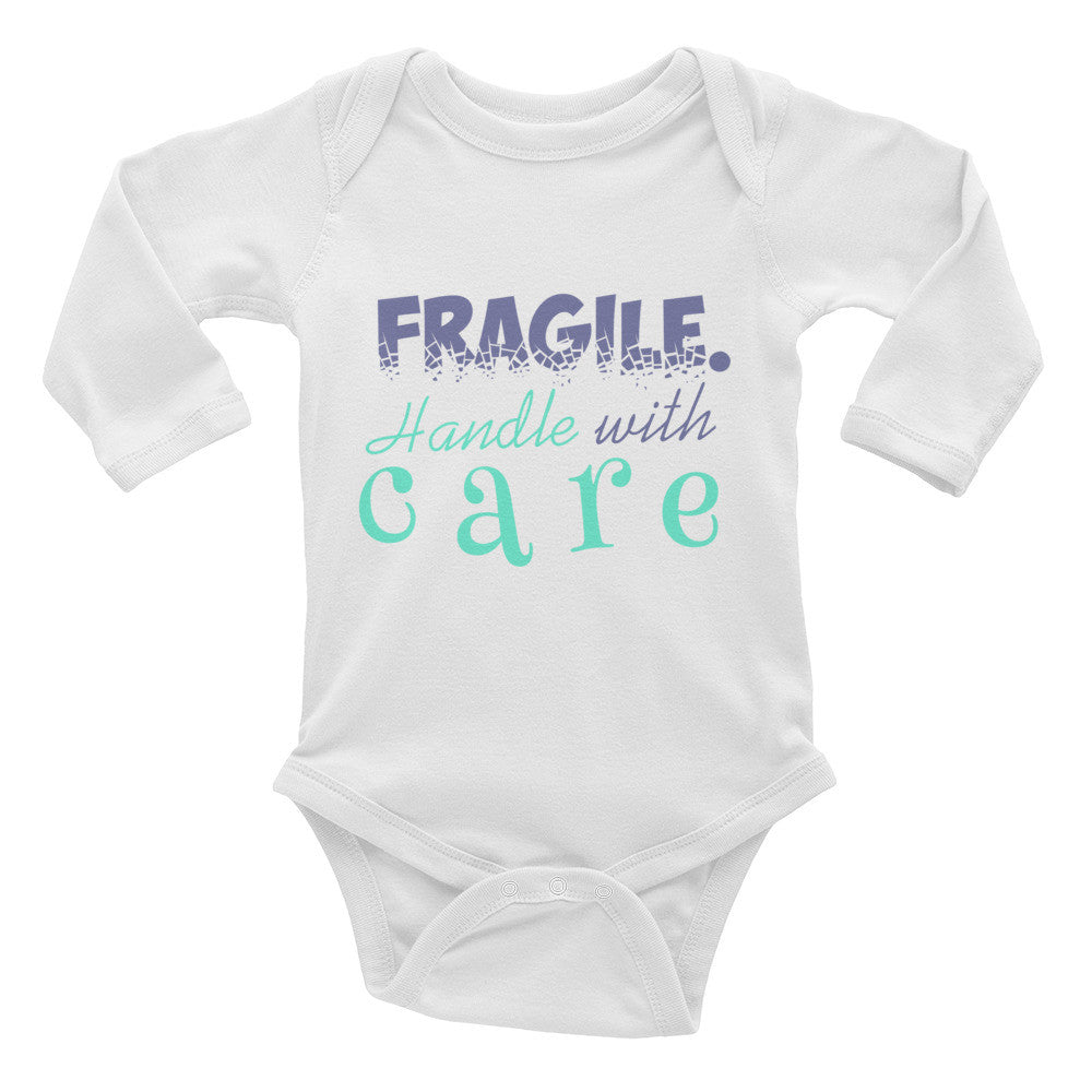 "Long Sleeve Bodysuit ""Fragile. Handle with care"""