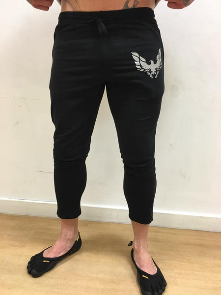 Black Mens skinny fit Joggers reflective logo