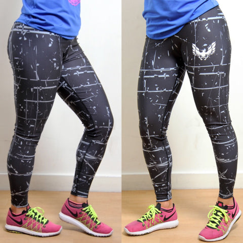 Women's Black and Grey GetMyBodyFit Ladies Gym Leggings