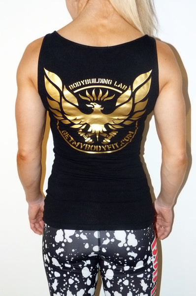 black womens gym vest