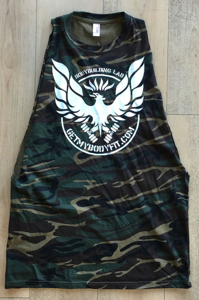 Camo green cut off t-shirt vest by Getmybodyfit