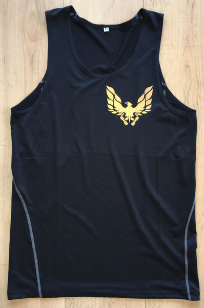 Black GETMYBODYFIT Compression Mens Vest Gold Logo