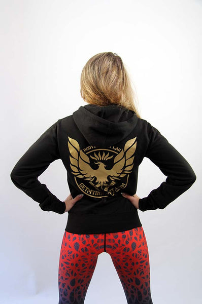 Womens Fit getmybodyfit Black Zip Hoodie Gold Logo