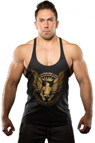 GetMyBodyFit Bodybuilding Lab Gold Logo Stringer Vest