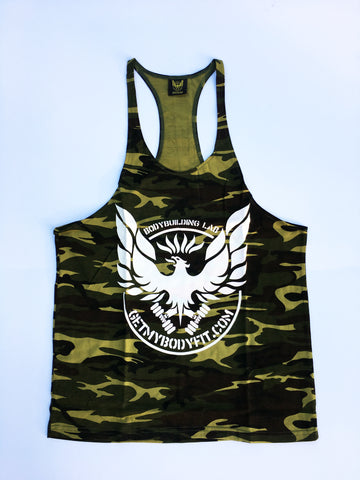Green camo Getmybodyfit stringer vest