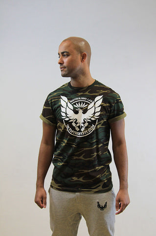 Camo green gym T-shirt with white logo by GetMyBodyFit