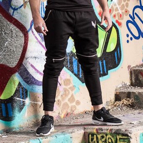 Biker Tapered Black Mens Joggers
