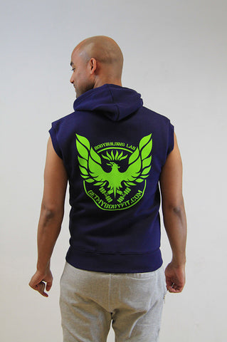 GetMyBodyFit Mens Sleeveless Navy gym Hoodie