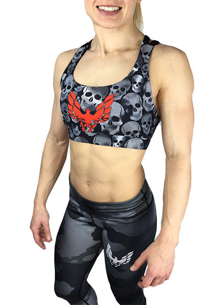 Women's skull sports bra black strappy back by getmybodyfit
