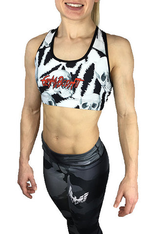 Women's skull sports bra t back by getmybodyfit